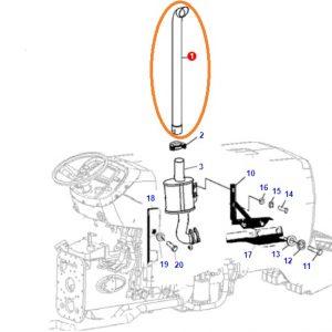 Egzoz Susturucu Tamburası Borusu Üstten Massey Ferguson 3050 – 3060 Orjinal Muadili OC160520180755