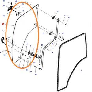 Kapı Camı Sağ Taraf Massey Ferguson 4707 – 4708 – 4709 – 5710 – 6712 – 6713 Orjinal OC0407201820061
