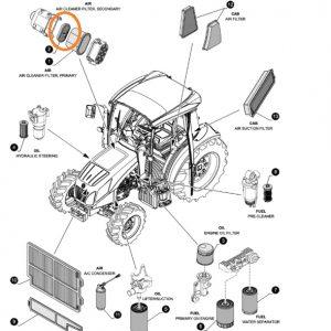 Hava Filtresi Power Core Küçük (DU) New Holland T5040 – T5050 – T5060 – T4030F – T4040F – T4050F – T4030N – TD80A Tier3 Orjinal OC061020181700