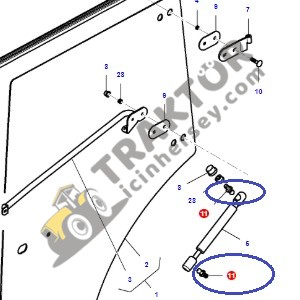Arka Cam – Kapı Amortisör Mafsalı Massey Ferguson 3615 – 3625 – 3635 – 3645 – 3655 V-S-F-GE Serileri Orjinal TIH000000188