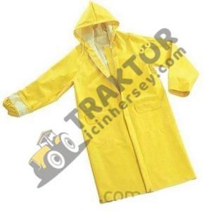 Polyester PVC Çift Katmanlı Su Geçirmez Kapşonlu Sarı Yağmurluk OC020320181326